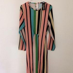 Multicolor Striped Midi Dress | Boohoo Dress